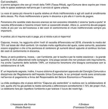 lettera ai cittadini
